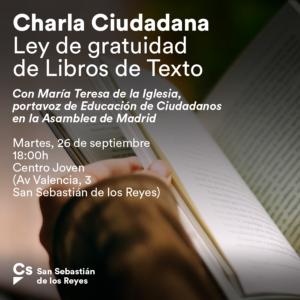 Charla Gratuidad de Libros de texto San Sebastián de los Reyes