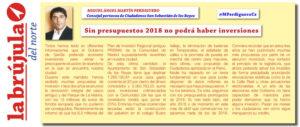 La Brújula del Norte Ciudadanos San Sebastian de los Reyes Presupuestos 2018 Miguel Martín Perdiguero