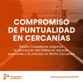 Ciudadanos (Cs) SanSe insta al Ayuntamiento a que solicite a la Comunidad de Madrid un compromiso de puntualidad a Renfe
