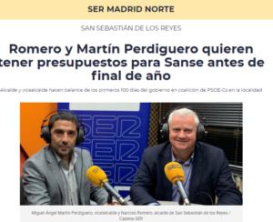 Entrevista 100 días gobierno de san sebastián de los Reyes Miguel Ángel Martín Perdiguero Narciso Romero