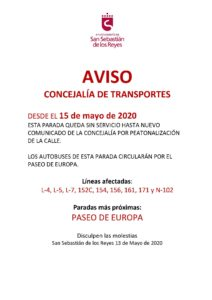 lineas autobuses covid 19 peatonalización calles san sebastian de los reyes