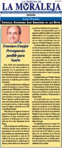Ciudadanos San Sebastián de los Reyes Presupuesto 2020 Juan Olivares La Tribuna Moraleja