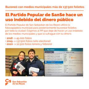 Ciudadanos (Cs) denuncia que el Partido Popular de San Sebastián de los Reyes hace un uso indebido del dinero público de los vecinos