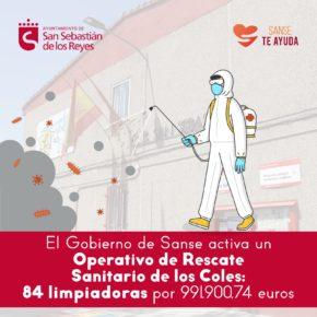 SanSe activa un 'Operativo de Rescate Sanitario de los Coles': 84 limpiadoras y un coste estimado de 991.900,74 euros